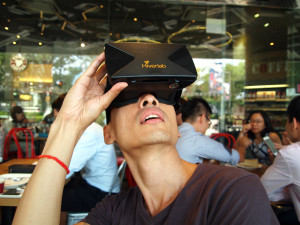 a man watching using a VR headset
