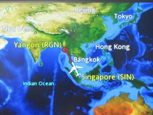 airline map sing to Rangoon